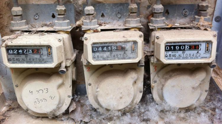 Old damaged gas meters
